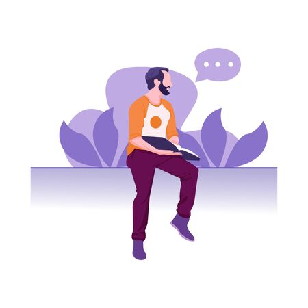 illustration of a man sitting and holding a book