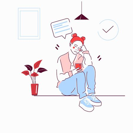 the woman sitting at home playing with a smartphone.Flat vector illustration Illusztráció