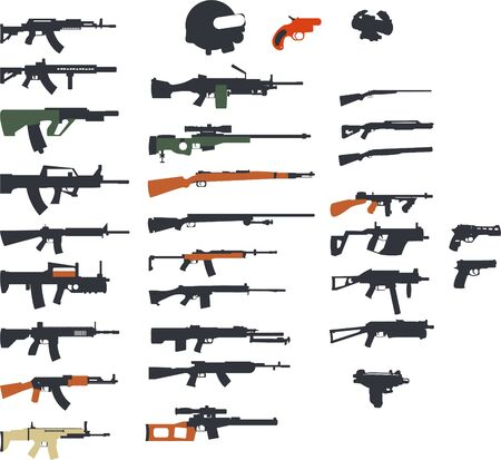 weapon and gun set collection icons vector illustration isolated on white background Illusztráció