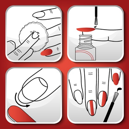 nail file: Beautiful vector red manicure icons