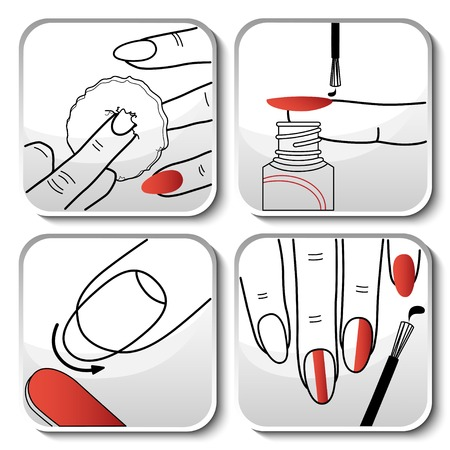 cuticle: Beautiful red manicure icons