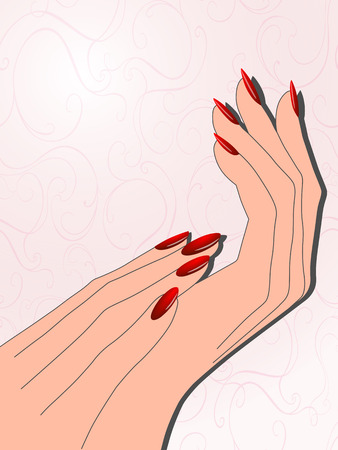 Female hands with red manicure Vector