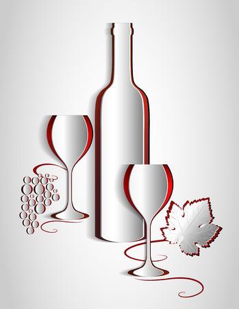 Paper wine list design  Vine abstract  Vector