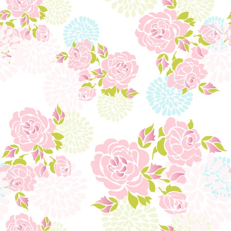 Abstract seamless gentle roses pattern Vector