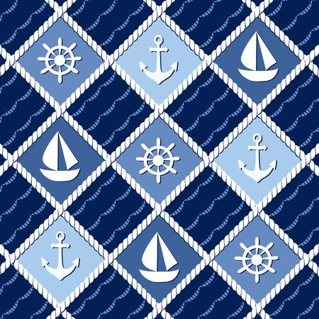 Marine thema naadloze patroon met ankers Stock Illustratie