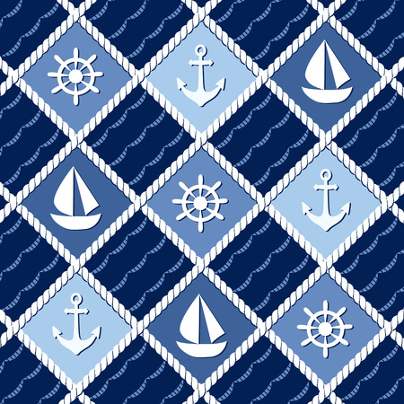 themed: Marine themed seamless pattern with anchors