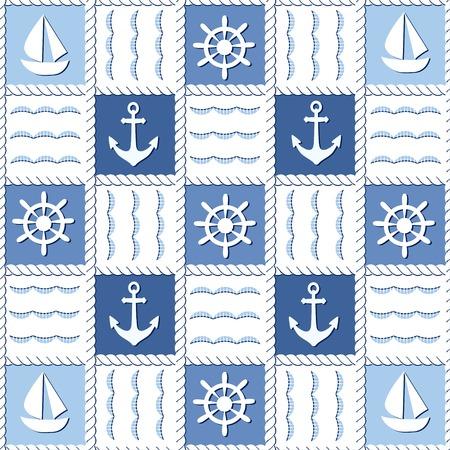 Marine theme. Blue sea seamless pattern Illustration