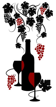 wine dinner: Vine abstract.  Wine list design. Vector illustration.
