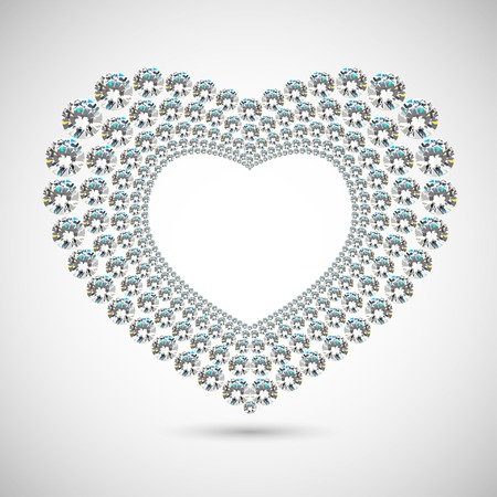 shiny diamond heart on white background Vector