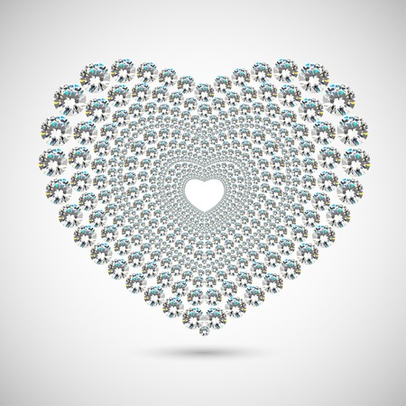 Shiny diamond heart on white background