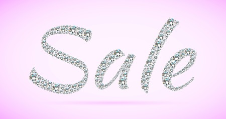 Shiny sale tag on pink background.  photo