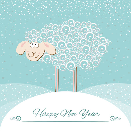 New years greeting card. Symbol of 2015 year of the sheep. Vector