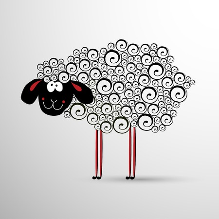 Abstract sheep. Vector symbol element for New Years design. Vector
