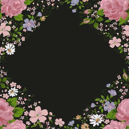 to foliate: Foliate border with roses blossom