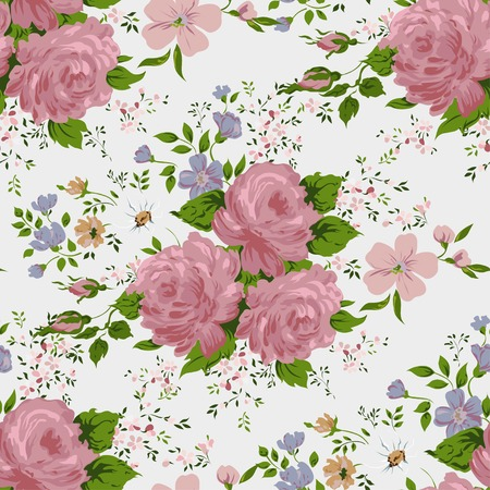 Floral pattern with of pink roses on white background. Vector