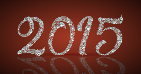 christmas ornamentation: The new 2015 year diamond on a red background and snowflakes