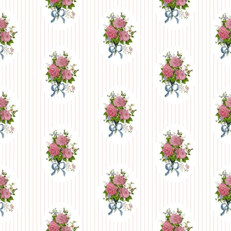 cute rose seamless vector pattern background.  イラスト・ベクター素材