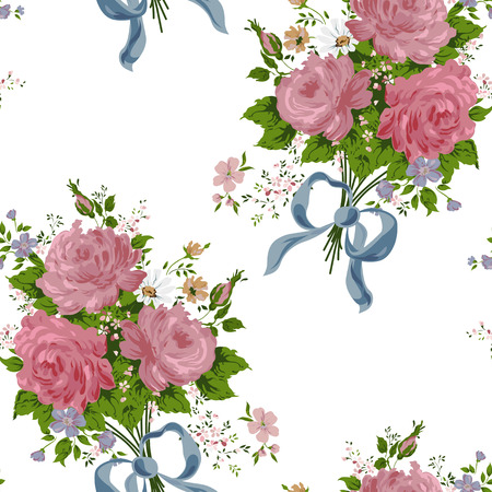 wallpaper vintage rose pattern on white background Vector