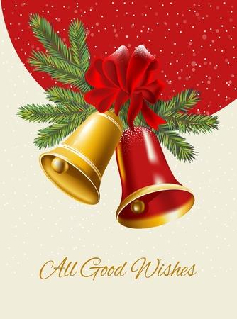 campanas de navidad: Ghristmas fondo. Campanas festivos con acebo de Navidad