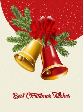 campanas de navidad: Tarjeta de Navidad con campanas de Navidad. Ilustración vectorial