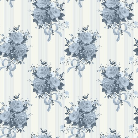 Vintage rose wallpaper pattern. Vector background in blue Vector