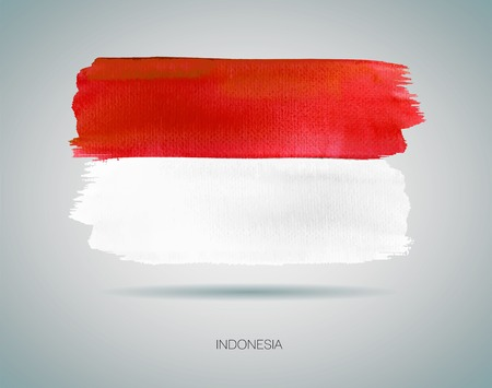 indonesia culture: Watercolor Indonesia Flag. EPS 10