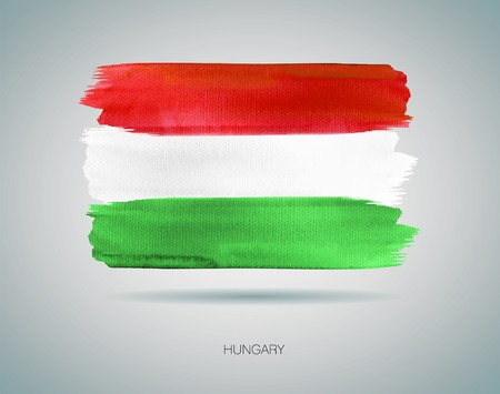 hungary: Watercolor illustration of the flag of Hungary Illustration