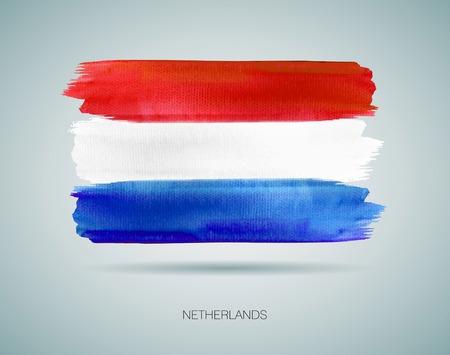 netherlands flag: Vector of Netherlands Flag. Watercolor texture Illustration
