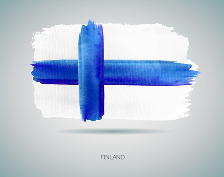 finland: Watercolor Flag of Finland. Vector