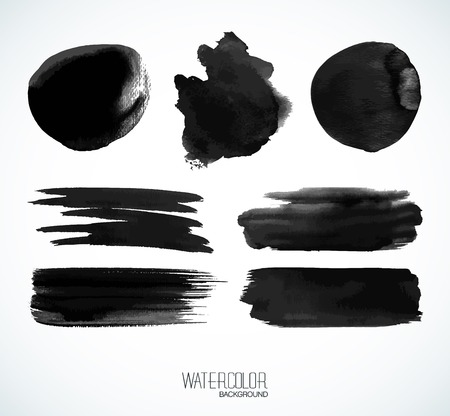ebon: Black watercolor banners and bubbles. Isolated shapes and brush strokes on white background.