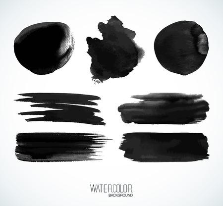 ebon: Negro banderas de acuarelas y burbujas. Formas aisladas y pinceladas sobre fondo blanco.