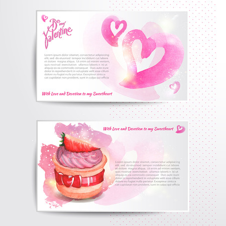 weeding: Happy valentines day and weeding cards. Watercolor background