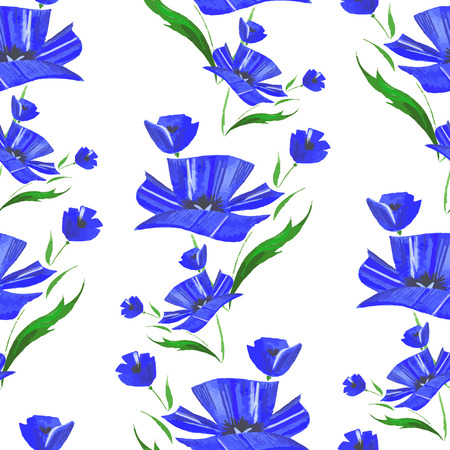 Seamless pattern with watercolor blue cornflower. Vector Illustration