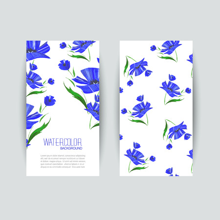 Business cards templates. Watercolor design. Cards with blue abstract watercolor poppies. Invitations, flyers. Vector illustration. Vector
