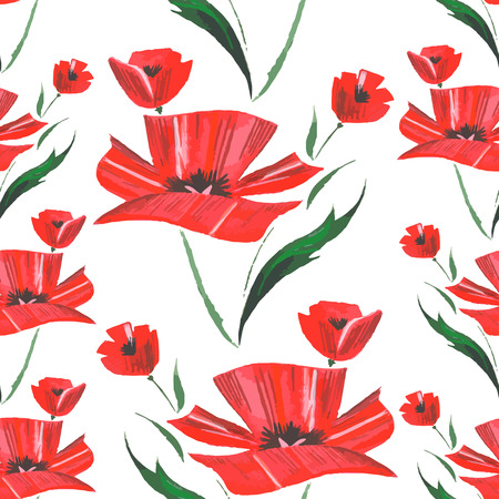 Flower watercolor pattern with poppies. Vector Vector