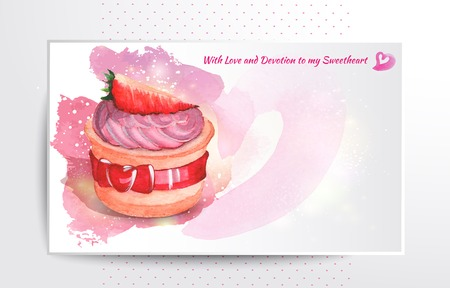 Vintage card with cupcake. Valentine\'s Day card