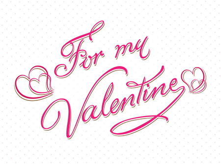 febuary love glossy shiny creative: For my valentine calligraphy card template