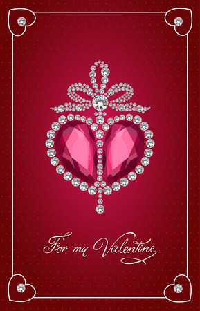 brilliant heart: Valentines day vintage card with brilliant heart.