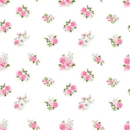 naadloze leuke vintage rose bloem patroon op een witte achtergrond