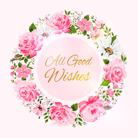 Border of flowers with all good wishes text. Vector