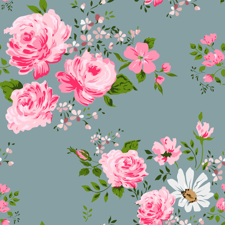 Seamless pattern with pink roses and camomile Vector