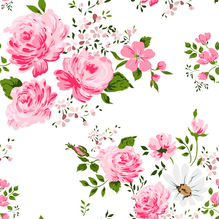 Seamless pattern with pink roses and camomile Stock Illustratie