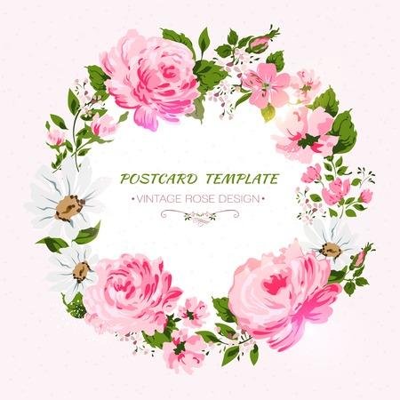 Grens van bloemen met alle goede wensen tekst.