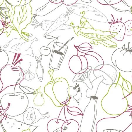 chiken: Food seamless pattern. Hand drawn vector