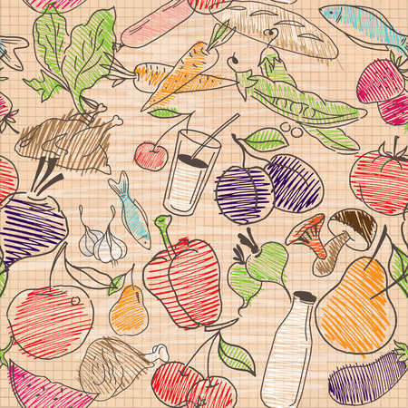 chiken: Food seamless pattern. Hand drawn vector. Good for backgrounds, fabric, kitchen and cafe stuff