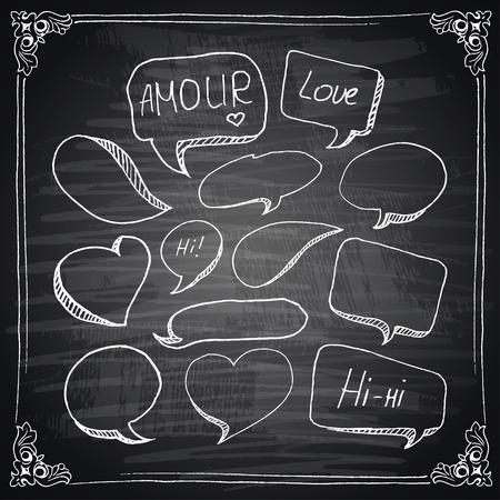Hand drawn speech bubbles chalkboard effect. Vector
