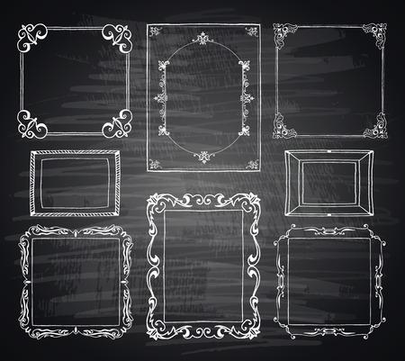 黒板スタイル手描き落書きフレームとデザイン要素