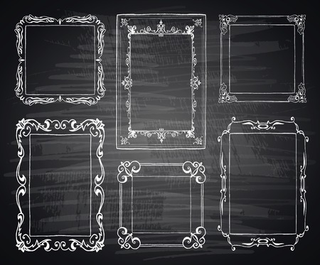 Set of chalk painted frames on a black chalkboard. Preform design.
