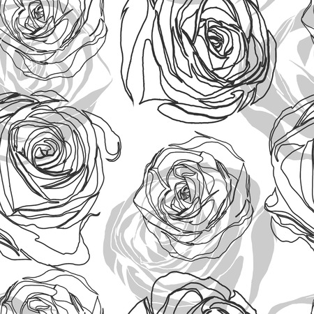 contours: black and white seamless pattern in roses with contours. Illustration