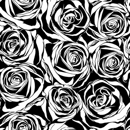 outline flower: Vector seamless pattern with black roses flowers.